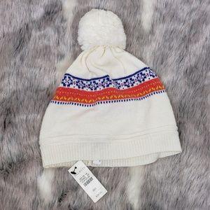NWT Talbots Fair Isle Knit Hat Pom Pom, OS